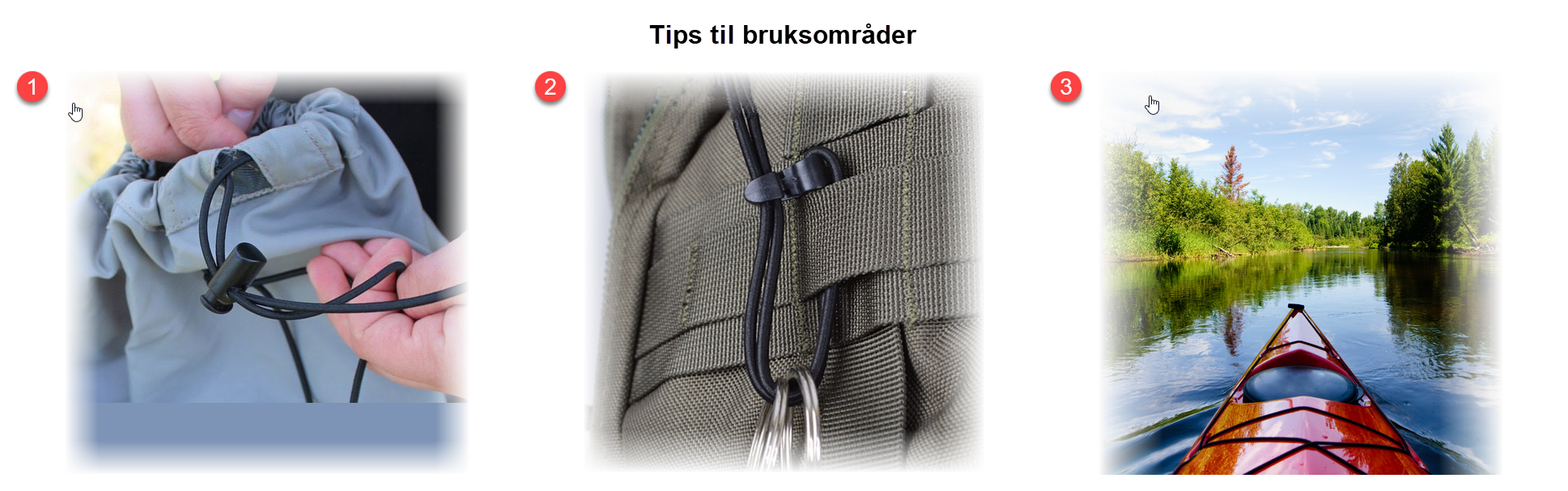 Tips til bruksområder Shockcord